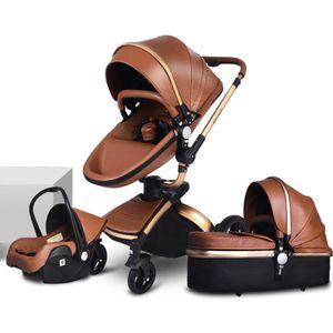 Poussette bébé de luxe 3 en 1 avec cadre de transport séparé Cadre d'or 360 degrés Rotation High Baby Carriage Poussette de paysage pour le nouveau-né