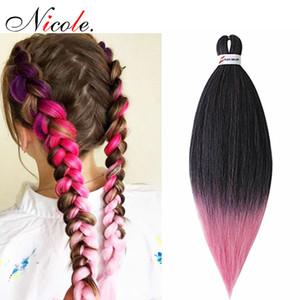 Nicole sintética Kanekalon EZ trenza de cabello Extensiones Jumbo Trenzas Pre-Streched recta Ombre Pink Hair Braiding esmerilado de envío