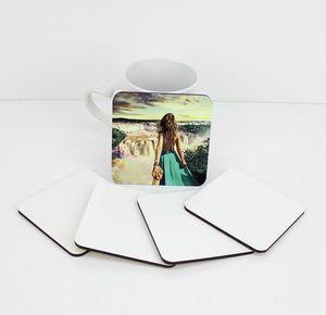 Posavasos de sublimación para regalos personalizados Posavasos de MDF para sublimación de tinte impresión de transferencia en caliente de forma cuadrada