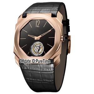 Novo 42mm Octo Finissimo 102346 BGo40BGLTBXT Rose Gold Black Dial Tourbillon Mens Automático Assista Black Leather Sports Watches Puretime E12