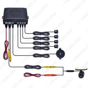4 sensores Leewa coches retrovisor sensor de aparcamiento marcha atrás del sistema de ayuda con 16,5 mm Montaje externo de la cámara # 1872