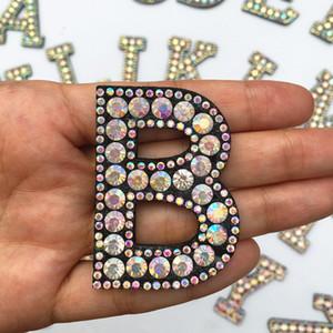 letras de piedra Rhinestone de la letra del alfabeto Inglés apliques de hierro sobre 3D 1pcs A-Z Patch para DIY Ropa insignia de pasta para zapatos del bolso de ropa