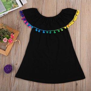 2019 nuevo verano ropa para niños Pom-Pom cuello redondo negro niñas vestido vestido de un cuello envío libre