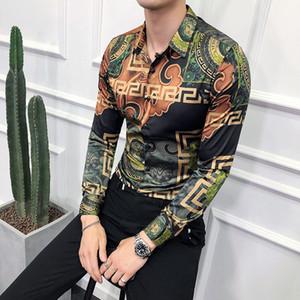 Moda camisa de smoking 2019 camisas de vestido dos homens ouro fino camisa de manga longa para o branco social camisa barroca social camisa floral Casual