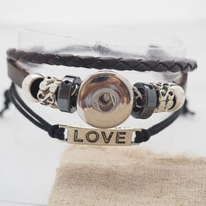 Wholesale- schwarz Liebe Snap Lederarmbänder passten Snaps Buttons 18mm verstellbaren Knoten Freies Verschiffen giger Schnapp Schmuck