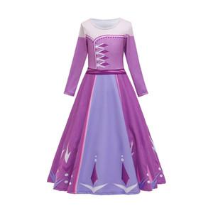 Vestido de princesa para niña Reina de la nieve 2 de manga larga del copo de nieve del marco del traje de Cosplay lujo de Halloween que desfile de ropa de fiesta Niños púrpura camisa