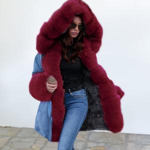 Şık Bayan Uzun Kol Kapşonlu Elegant Sıcak Palto Sahte kürk ceket Pocket ile rahat Kalınlaşmış Dış Giyim