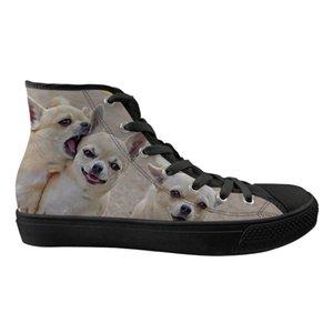 Scarpe delle donne sveglie Appartamenti animali Chihuahua modello delle signore di marca High Top Canvas Primavera Scarpe Donna Zapatillas Mujer