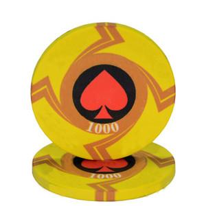 20pcs / Lot EPT Céramique Texas Poker Chips Casino professionnel European Poker Peach coeur Chips Set