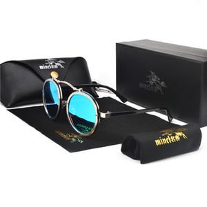 Al por mayor-MINCL 2019 Nueva Moda Punk gafas de sol redondas para hombres y para mujer Gafas de sol retro de diseñador de la marca UV400 con caja NX