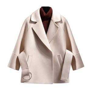 Para mujer abrigos de invierno de una mezcla de lana color sólido de la correa Diseño Mujer Prendas de vestir exteriores floja Streetwear Abrigos Tops más el tamaño M-4XL