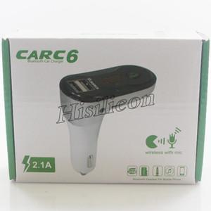 50 pcs Car C6 Transmissor FM Kit Modulador Aux Car Kit Mãos Livres Bluetooth Car Audio MP3 Player com Dual USB Charger PK B2 B3