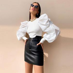 Las mujeres forman acanalada largo linterna tapas de las mangas del cuello de O delgado sólido elegante camisa de las muchachas Negro Blanco T simple Tees primavera foto real