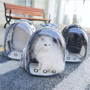 كلب القط رائد الفضاء الظهر تنفس في الهواء الطلق حقيبة الناقل شفافة
