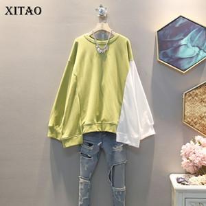 Xitao coréenne style Tendance Sweat-shirt Contraste irrégulière Couleur Haut Femmes Taille Plus Mode Femme Vêtements 2019 Automne Nouveau XJ2251