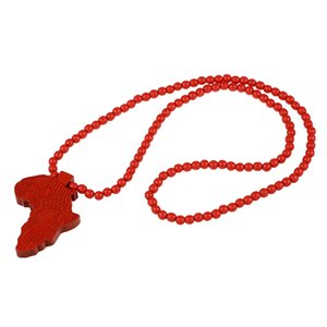 1pcs Hip-Hop African Map Pendant Wood Bead Rosary Selects Red
