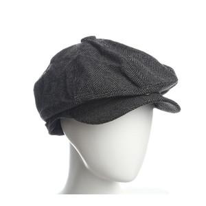 Jornaleiro Caps Herringbone fringes Chapéus Chapéus Chapéus Chapéus Tampas Planas para as mulheres Homens chapéus de Inverno Quente Masculino Feminino Gatsby Retro