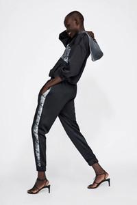 Survêtement en peau de serpent Hoodies Noir Automne Hiver Strip Stripe Jogging Causal Trousers Femmes Survêtements Chic Chandal Mujer pour Femmes