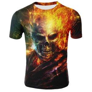 newst 2020 New Skull T-Shirt Männer Frauen 3D-Druck Feuer-Schädel-T-Shirt Kurzarm Hip-Hop-T-Shirts Sommer-kühles T-Shirt Street Tee Hemd übersteigt