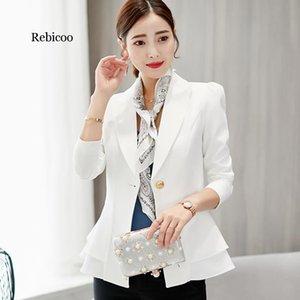 Элегантный оборками Хем Basic куртки женщины костюм Blazer Feminino 2020 Spring Summer Solid One Button Управление Bussines Coat