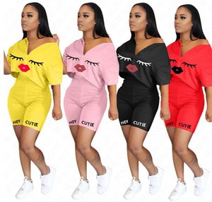 Women Tracksuit Candy Color Letters HEY CUTIE Lips Designer Two Piece Set Outfits Short Sleeves T Shirt Shorts Summer Sport Suit S-3XL D7102
