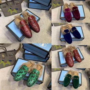 Женщины дизайнер Тапочки Princetown кожа тапочки Fur Мулы Flats Сеть Дамы Повседневная обувь Женщины Мокасины Muller Трусы Furry Слайды