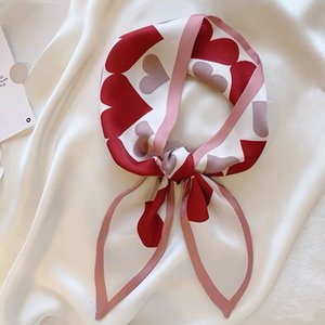 Double-Sided Small Silk Scarf Double-Layer Small Neckerchief Chic Girl's Hair Band Multi-Function Tie Bag Silk Scarf