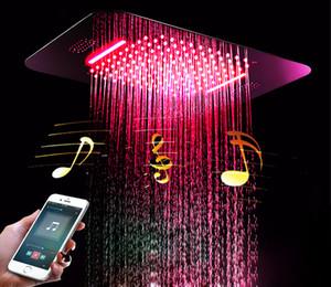 Buletooth Música LED cabezal de ducha 580 * 380mm encastrado en el techo montado de ducha tipo lluvia luces del baño de ducha función de flujo de agua 2