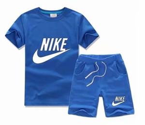 2019 Ropa de verano para niños y niñas bebés Conjunto de camiseta de verano para niños Pantalones Camiseta con estampado de letras + Pantalones cortos Camiseta de moda para niños Pantalones NK001