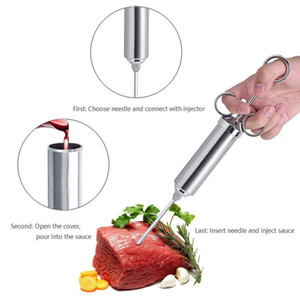 2oz Grill Marinade Seasoning Injector With 3 Needles Inyección de jeringa para cocinar carne de acero inoxidable con cepillo de limpieza DH01019 T03