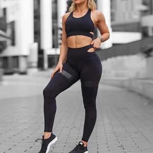 Женщины Йога наборы Фитнес Одежда спортивная одежда для женщин Gym высокой талией Спорт гетры Женщины Crop Top Ropa Deportiva Mujer
