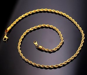 2019 새로운 패션 남성 골드 체인 패션 보석 선물에 대한 18-30인치 3mm 18K 진짜 금 도금 스테인레스 스틸 와이어 로프 체인 목걸이