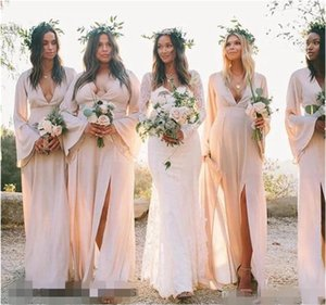 Sale Blush Pink Bridesmaid Dresses Long Poet Sleeves V Neck Side Slit A Line Custom Made Plus Size Maid of Honor Gown Country Wedding Wear