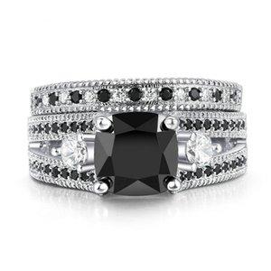 Set di anelli di rame moda europea e americana Black Nano Zircone Set di anelli da donna in oro bianco placcato micro