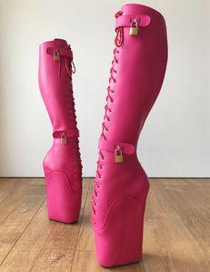 Hot Pink Matte Ballet Knee High Boots 18CM Wedges Full High Womens Winter Fashion 2019 Goth Shoes Females Platform Boots Punk