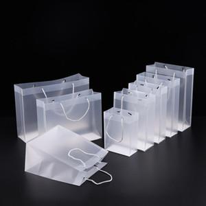 8 Tamanho Fosco PVC sacos de presente de plástico com alças à prova d 'água saco de PVC transparente claro bolsa de festa favorece o logotipo personalizado LX1383