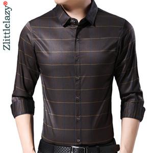 2019 Brand Casual Luxury Striped 긴 Sleeve Slim Fit Men Shirt Streetwear Social Dress Vintage Shirts Mens Fashions Jersey 9317