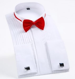 Erkekler Düğün Smokin Uzun Kollu Gömlekler Fransız kol düğmeleri Swallowtail Fold Koyu düğme tasarım Beyefendi gömlek Beyaz Kırmızı Siyah