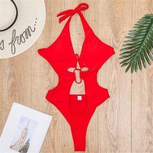 Halter scava fuori bikini scollo a V vestito di bagno di Monokini delle donne sexy del costume da bagno di un pezzo delle tute High Cut Swimwear Donne 2020