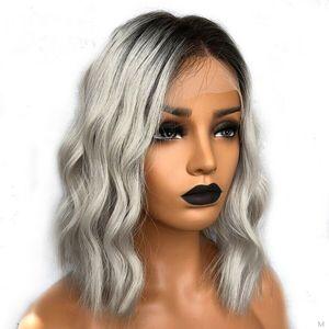 Capelli brasiliani ombre grigio 13x4 parrucche anteriori in pizzo parrucche per capelli umani remy hombre bob parrucca per le donne precipitate glueless glueless cortometrici bob parrucche