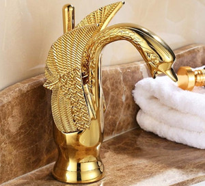 Wholesale- Gold Finish  Swan Shape Brass Basin Sink Faucet Bathroom Single Hole Centerset Basin Mixer Tap