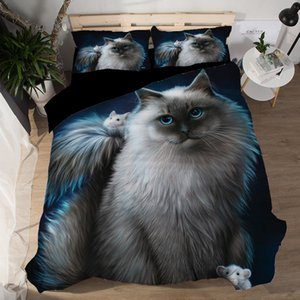3D Animal Black Cat Bedding Set Twin Queen King Size Polyester Bedroom Set Bed Sheets Duvet Cover sets pillowcase bedclothes T200706