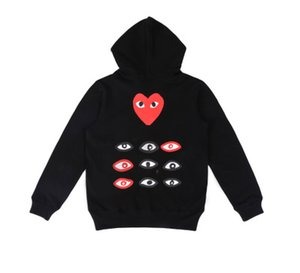 패션 가을 신상품 얇은 물방울 무늬 후드 심장 인쇄 코트 조깅 운동복 스웨터 블랙 화이트 티셔츠 후드