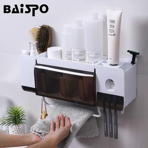 Baispo Montagem Na Parede À Prova de Pó-Escova De Dentes Titular Com Copos Automático Toothpaste Squeezer Dispenser Acessórios Do Banheiro Conjuntos T190708