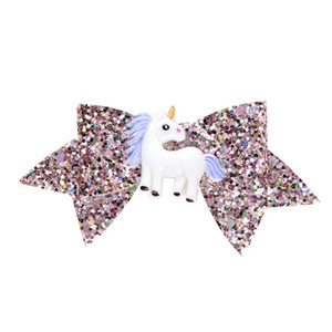 Unicorn Sequins Glitter bebê Barrettes 3,7 polegadas Dovetail arcos de cabelo Clipes para meninas Pó Grampos filhos Cabelo bowknot grampo Headwear A122702