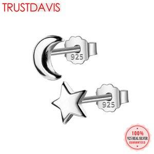 Trusta 100% 925 plata esterlina 2017 joyería de moda mujer Tiny Asymmetric Moon Star Stud pendientes para niñas hija DS127