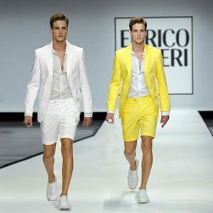 Sommer Weiß Kurze Hosen Bräutigam Smoking Männer Anzüge für Hochzeit Peak Revers Casual Man Blazer Tragen Gelb Kostüm Homme 2 Piece Terno Masculino