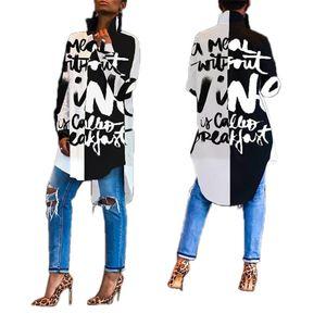 Mujeres camiseta Vestidos de diseño letra de la manera suelta de manga larga vestido asimétrico 20ss Nueva Ropa Casual