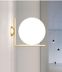 Modern latão Rodada Bola de vidro Wall Lamp Hotel Home Living Room Quarto Reading Wall Light WA226