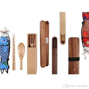 Posate in legno Set giapponese in legno da tavola di Gift Set esterna portatile del cucchiaio delle bacchette della forcella Box Set Posate
